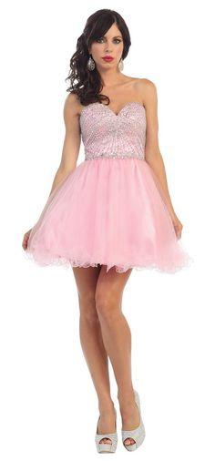 Short Formal Prom Sweetheart Sassy Dress Beaded Bodice - The Dress Outlet - 1