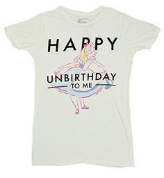 70cd3e785 Disney Alice In Wonderland Happy Unbirthday Juniors Boyfriend T-shirt  (Small, Linen). Disney Sweet 16Disney ...