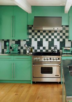 Retro seafoam kitchen....only with a beautiful built in double oven....