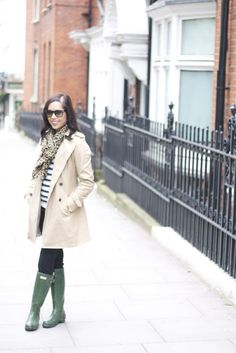 London style: stripes and wellies