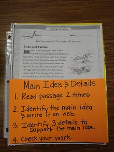Stuckey in Second: Main Idea Workstation Read passage 2 times, identify the main idea & write it on web, identify 3 details to support the main idea, check your work. This is a great idea for working on reading comprehension. Reading Lessons, Reading Strategies, Reading Skills, Teaching Reading, Reading Comprehension, Guided Reading, Close Reading, Reading Time, Comprehension Strategies