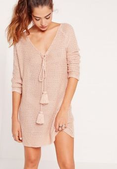 Long Sleeve Knitted Shift Dress Pink