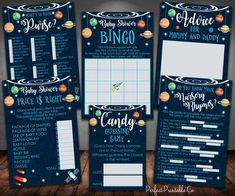 Outer Space Planets Baby Shower Games Package Bundle, Bingo, What's in Your Purse, Nursery Rhymes, Candy Guessing, Price is Right #586 by PerfectPrintableCo on Etsy