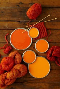 Orange paint & wool. I like the burnt orange w/ my blue for the kitchen.