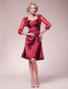 A-line Spaghetti Straps Knee-length Stretch Satin Mother of the Bride Dress With A Wrap - USD $ 119.99