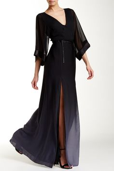 Elbow Sleeve Ombre Caftan Gown