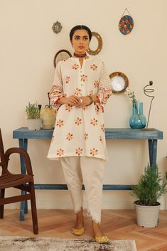EMBROIDERED SHIRT (WTR211271) | ETHNIC