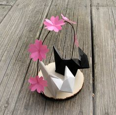 Items Similar To Romantic Wedding Cat Cherry Blossom Origami Cake Topper By Paper Disciple On Etsy