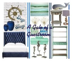 """Nautical Nation: A Gale of a Guestroom"" by atarituesday ❤ liked on Polyvore featuring interior, interiors, interior design, дом, home decor, interior decorating, Milton & King, Maureen Kerstein, Universal Lighting and Decor и Emissary"