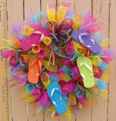 Deco Mesh Wreath Ideas | Summer Flip Flop Deco Mesh Wreath by SouthernAccentsEtc on Etsy