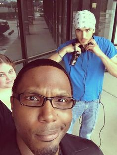 """Raymon, Tula, and Sam on set of """"What Not To Do... """""""