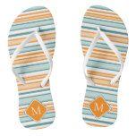 Orange Blue and White Stripes Flip Flops #weddinginspiration #wedding #weddinginvitions #weddingideas #bride
