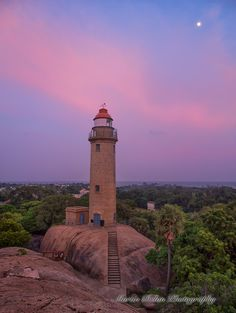 Mamallapuram Lighthouse, India at Sunset