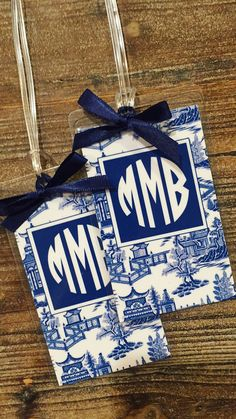 Blue chinoiserie monogrammed luggage tags Monogram Stickers, Personalized Stickers, Love Blue, Blue And White, Monogram Water Bottle, Pink Luggage, Gifts For Her, Great Gifts, Monogrammed Luggage Tags