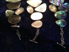 mother of pearl geometic steeping stones bracelet by FlamesJewels on Etsy