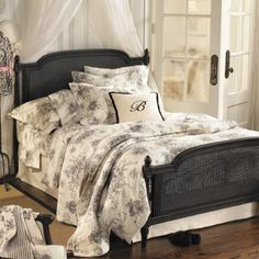 Ballard Toile: I want this bedding, but different headboard and using a shade of green as a pop of color.