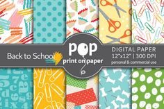 Back to School - 10 digital papers by POP print on paper on @creativemarket