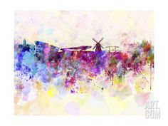 Amsterdam Skyline in Watercolor Background Art Print by paulrommer at Art.com