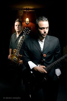 Blue October band members Justin Furstenfeld and CB Hudson III shot for Guitar World Magazine via Steven Noreyko