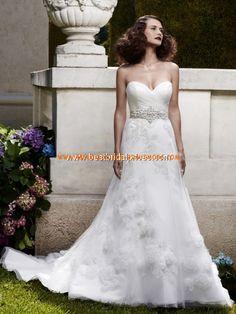 2012 Luxuriöse Brautmode aus Tüll Herzausschnitt A-Linie mit Korsage