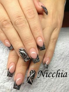 Silver and black nail design