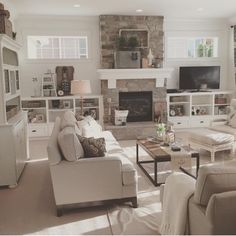Fireplace, builtins and transom windows