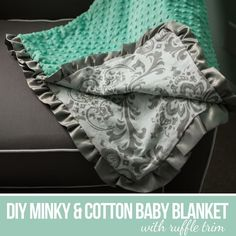 DIY Minky and Cotton Baby Blanket with Ruffle Trim Quilt Baby, Minky Baby Blanket, Ruffle Blanket, Blanket Crochet, Crochet Baby, Cotton Baby Blankets, Diy Baby Girl Blankets, Diy Blankets, Receiving Blankets