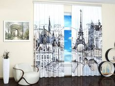 Paris without leaving home -fun modern window treatments, curtains and blinds with digital art prints