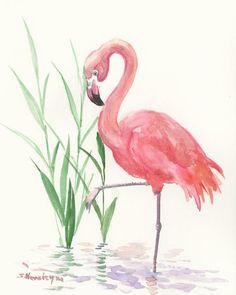 Flamingo Art, original, one of a kind watercolor painting, flamingos, pink flamingo