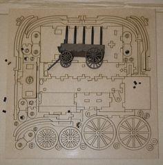 Cardboard Paper, Cardboard Crafts, Rubber Band Gun, Laser Cutter Ideas, Laser Art, Covered Wagon, Wooden Car, Black Candles, 3d Puzzles