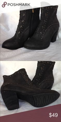 Luichiny ankle boot Dark grey with gold tone studded ankle boot with chunky 3 1/4 in. heel. Lace up design. Practically new condition. Zipper side. Jay Me is the name. Luichiny Shoes Ankle Boots & Booties