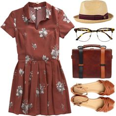 """""""Collared Floral Dress"""" by emc1397 on Polyvore"""