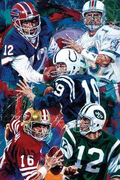 Pennsylvania Boys: Top from left: Jim Kelly, Joe Namath. Bottom: Joe Montana and Joe Namath Bills Football, Nfl Football Players, Football Art, Football Memes, Vintage Football, School Football, Football Season, Sports Memes, Baltimore Colts