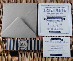 nautical theme wedding | Ahoy Sailor Nautical Themed Wedding Invitation with Belly Band