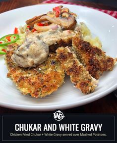 Chicken Fried Chukar + White Gravy served over Mashed Potatoes. I double dredged and double dipped these breasts before pressing into a blend of seasoned breadcrumbs+panko for a thick and crunchy outter crust. Fried in olive oil until golden brown and then baked to ensure the crust stays crispy while I whipped up a delicious creamy white gravy infused with a flavorful combination of veges. Wild Game Recipes, Stuffed Mushrooms, Stuffed Peppers, Glass Baking Dish, Venison, Creamy White, Golden Brown, Fried Chicken, Dinner Plates