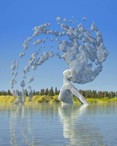 """Chad Knight is a artist creating mind-bending digital art. His unique approach to digital sculptures fascinates people all over the internet. """"I think I became an artist at conception,"""" Chad told the Klassik Magazine. Benfica Wallpaper, Statue Ange, Knight Art, 3d Fantasy, Anime Kunst, Wow Art, Land Art, Surreal Art, Public Art"""