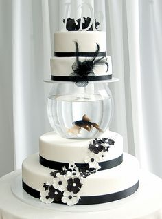 Black & White Fish Tank Wedding Cake, dude, there's a fish in their cake....