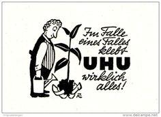 Original-Werbung/ Anzeige 1954 - CARTOON / IM FALLE EINES FALLES KLEBT UHU WIRKLICH ALLES - ca. 55 x 45 mm