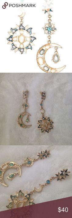 "🔥🔥1 HOUR DEAL🔥🔥Sun & Moon earrings. Sun & Moon earrings. Super cute and unique. Feminine flare. Never worn. Both earrings have a 3""drop Jewelry Earrings"