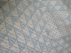 Ocean waves baby blue hand stitched beauty antique quilt on Etsy, £199.00