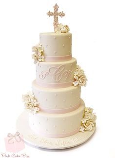 We had the pleasure of creating Sofia's Christening Cake last weekend for a celebration at the Olde Mill Inn in Basking Ridge, NJ. The four tier cake is co