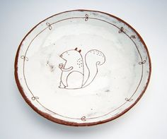 Squirrel Plate Ceramic Plate Side Plate by susansimonini