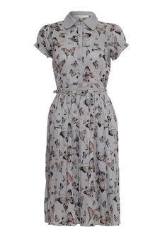 Butterfly Print Pleated Tea Dress