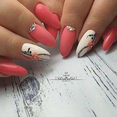39 Pretty Nail Art Designs To Inspire You - Page 38 of 39 - TipSilo Glam Nails, Fancy Nails, Pink Nails, Cute Nails, Pink Nail Art, Flower Nail Art, Elegant Nails, Stylish Nails, Acrylic Nail Designs