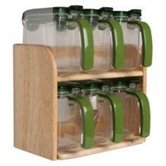 Lock Lock Wood Seasoning Food Storage Containers 6pcs Set Spice Sugar Salt  | EBay