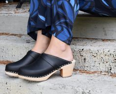 Lotta From Stockholm High Heel Classic Clog in Black Leather with Natural Sole