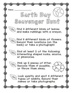 EARTH DAY: SCAVENGER HUNT FREEBIE! - TeachersPayTeachers.com