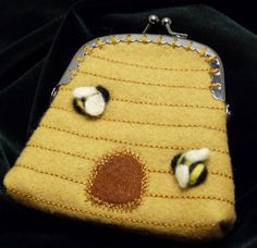 Bee skep wool felt coin purse with metal sewon by BackStitchChicks, $20.00