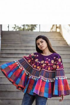 Embroidered Khadi Ponchos Top Perfect for this winter! Stylish and at affordable cost! Embroidered Khadi Ponchos Top Perfect for this winter! Stylish and at affordable cost! Khadi, Winter Poncho, Latest Kurti, Kurti Collection, Poncho Tops, Winter Tops, Indian Ethnic Wear, Winter Wear, Mantel