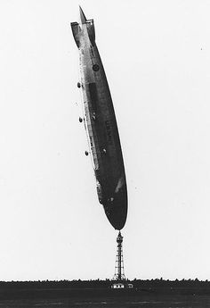 The USS Los Angeles airship ended up nearly vertical after its tail rose out of control while moored at the Naval Air Station Lakehurst, New Jersey in 1927.